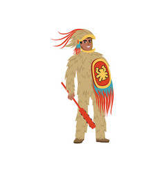 Aztec armed warrior man character wearing in vector