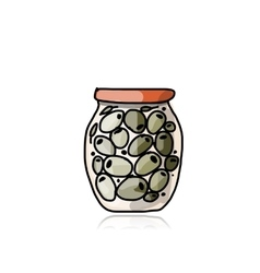 Bank of pickled olives sketch for your design vector image