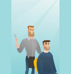 Barber making haircut to young man vector