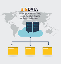 big data server cloud folder file vector image