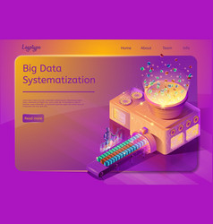 big data systematization service web page template vector image