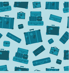 blue luggage seamless pattern background vector image