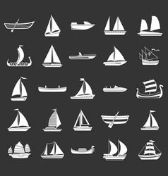 boat icon set grey vector image