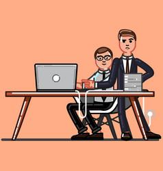 buisnessman and employee working vector image
