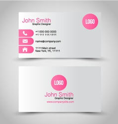 Business card set template pink and silver color vector