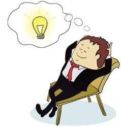 Businessman is resting at work generate of idea vector