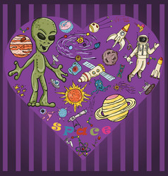 Childrens colored drawings 8 on the space theme vector