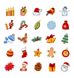 Christmas and new year icon set vector