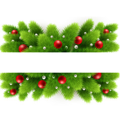christmas tree branches and space for text vector image