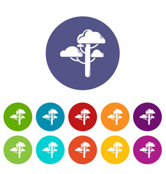 cloud tree icons set color vector image