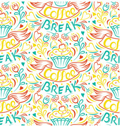 coffee break painted hand vintage style poster vector image
