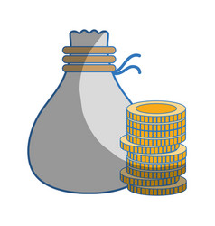 Coins cash money with bag vector