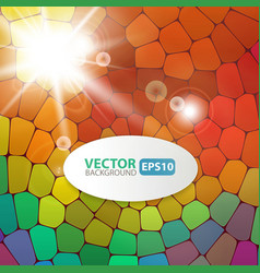 Colorful mosaic background with sunburst flare vector