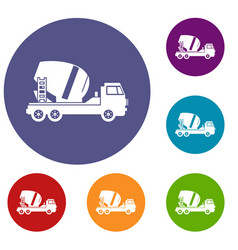 Concrete mixer truck icons set vector