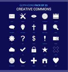 Creative commons white icon over blue background vector