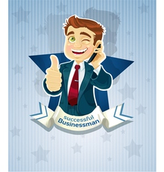 Cute successful businessman star poster vector