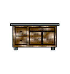 drawing desk furniture work office image vector image