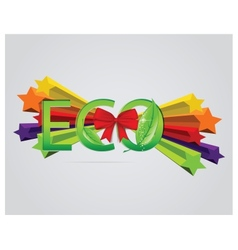 Eco sign with leafs and red ribbons vector image