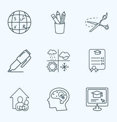 Education icons line style set with scissors vector