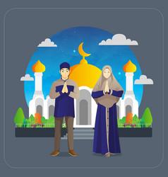 Eid al fitr greetings card with muslim couple vector