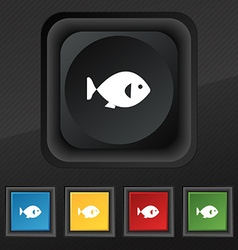 Fish icon symbol set of five colorful stylish vector