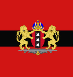 Flag of amsterdam of netherlands vector