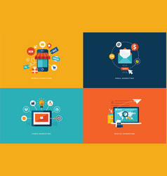 Flat design concept icons for internet marketing vector