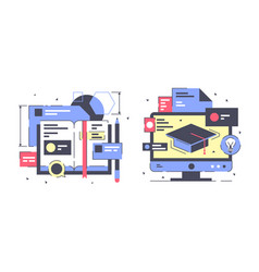 flat education icon set with modern book digital vector image
