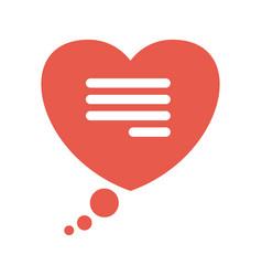 flat speech bubble in the shape of a heart vector image