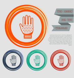 Gloves icon on red blue green orange buttons vector