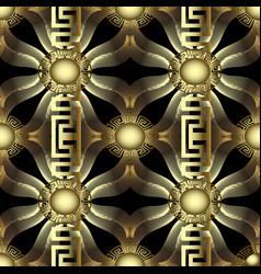 gold 3d modern 3d greek seamless pattern vector image