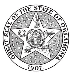 Great seal state oklahoma 1907 vector