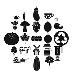 grown food icons set simple style vector image