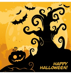 Halloween tree card orange vector