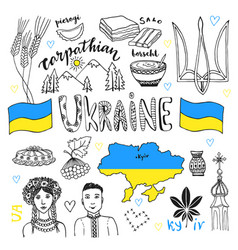 Hand drawn line art set of ukraine signs and vector