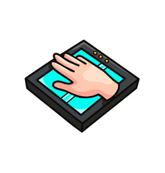 Hand scan modern security device for business vector