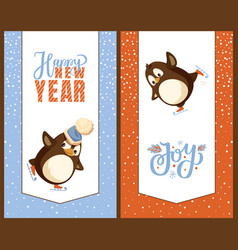 happy new year greetig cards penguins on skates vector image