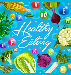healthy eating poster with vitamin vegetables vector image
