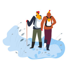 Hikers walking on snow with trekking pole and vector