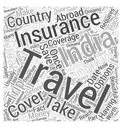India travel insurance word cloud concept vector