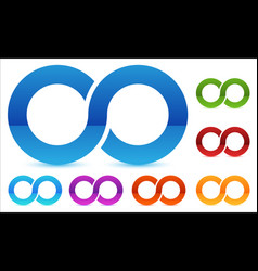 Infinity symbol in several color icon for vector