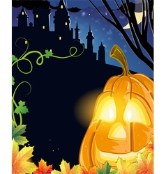 Jack O Lantern near the haunted castle vector image
