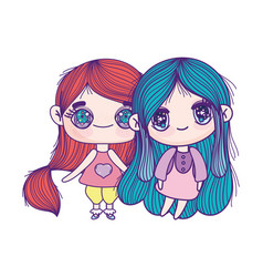 Kids cute little girls anime cartoon characters vector