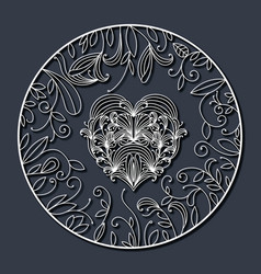 laser cutting abstract round frame with heart in vector image