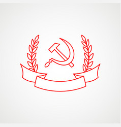 Linear icon communism hammer sickle and vector