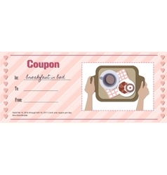 Love coupon for breakfast in bed vector
