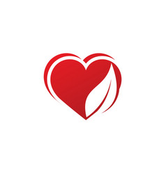 Love leaf logo template vector