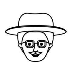 Male face with hat and glasses and style handlebar vector