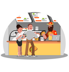 Man and woman buys mexican food vector