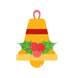merry christmas gold bell mistletoe decoration vector image